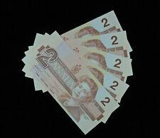 5 pcs 1986 $2 Bank of Canada Banknotes Bills CBE1584910-14 Consecutive UNC Grade
