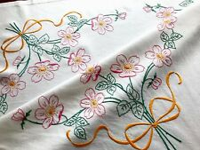 Vintage Hand Embroidered White Linen Tablecloth 33x34 Inches