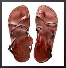 8f3bbc885b1b Brown Leather Roman Gladiator Jesus Sandals Strap Handmade UK (4-11) EU(