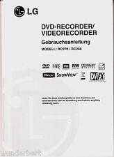 -- Manuel d'utilisation -- LG rc 278/rc 288 -- DVD/vhs-recorder