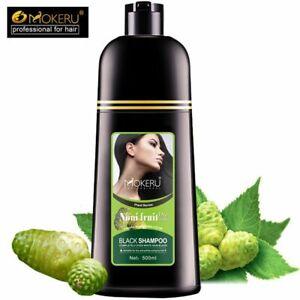 Mokeru Black Shampoo Hair Color Dye Permanent Darkening NONI Plant Essence 5 Min