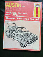 AUSTIN METRO 998cc &1275cc incl. Turbo 1980-82' Haynes Workshop Manual