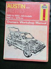 AUSTIN METRO 998cc &1275cc incl. Turbo 1980-82' Haynes Workshop Manual