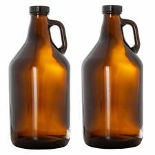Beer Glass Growlers 2 Pack 64 Oz Growler Set With Lids Home Brewing Kombucha