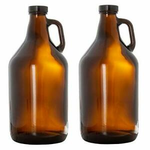 Glass Growlers for Beer, 2 Pack - 64 oz Growler with Lids Home Brewing, Kombucha