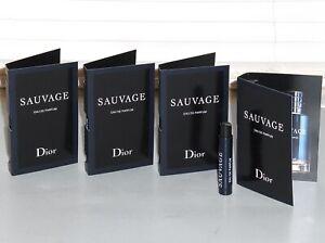 SAUVAGE by DIOR Men's eau de Parfum, Spray Samples, QTY. (4) x .03 oz, 1 ml, NEW