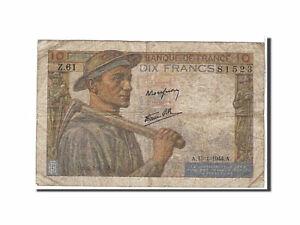 [#110090] Billet, France, 10 Francs, 10 F 1941-1949 ''Mineur'', 1944, TB+, Fayet