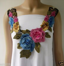 Vk343 Colorful Layered Flowers Neckline Collar Lace Venise Embroidery Applique