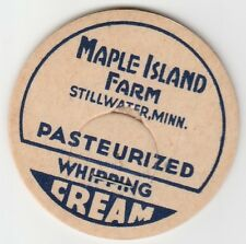 MILK BOTTLE CAP. MAPLE ISLAND FARM. STILLWATER, MN. DAIRY