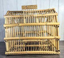 Vintage Bamboo Rattan Bird Cage 11Wx13.5Hx 15.75D