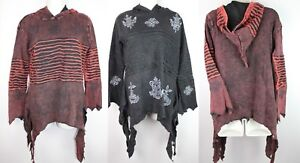Hippie Stonewashed Boho Asymmetric Jacket Jumper Top Coat Elf Wizard Hood S43