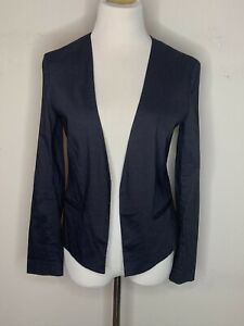 Theory Womens Long Sleeve Blazer Open Front Jacket Black Linen Cropped Sz 4