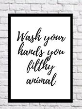 Wash You Hands Bathroom Wall Print Quote Decor Art Home Wall Hanging