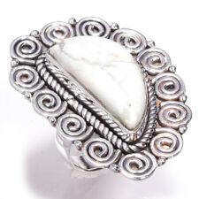 Howlite Gemstone Handmade 925 Sterling Silver Jewelry Ring Size 7.5 8479