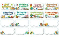 New! Cute Boho Birds 16 Piece Classroom Center Signs Mini Bulletin Board Set