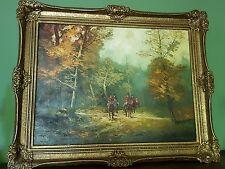 Gemälde Ölbild m. Rahmen Reiter im Herbstwald Jagd Wald SEPP MANGER Oil painting