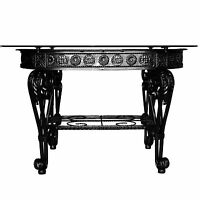 Coffee Table Oval Shape Iron Frame in Black Color with Clear Glass Top D23
