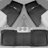 Waterproof TriFlex Rubber Floor Mats for Car Van SUVs Truck w/ Rear Liner Black