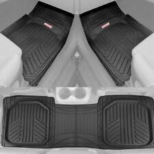 Waterproof TriFlex Rubber Floor Mats for Car Van SUVs Truck w/ Rear Liner Black