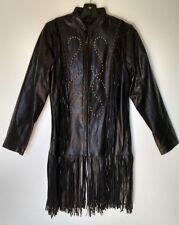 M Womans Black Leather Jacket Coat RanchoEstancia Western Motorcycle Fringe Stud
