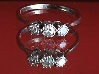 Antique Art Deco Fine ring PLATINUM and Diamonds Trilogy Sz K1/2