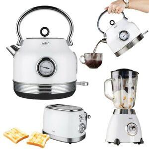 Wasserkocher Toaster EDELSTAHL Neu RETRO Weiß mit TEMPERATURANZEIGE Vintage Set
