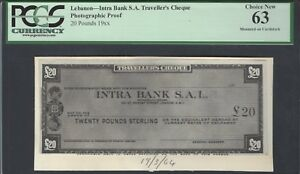 Lebanon -Intra Bank S.A Traveller's Cheque 20 Pounds 19** Photographic Proof UNC