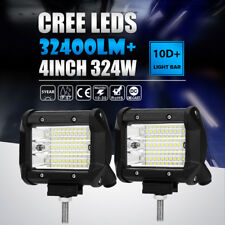 "Pair 324W 4""INCH LED Work Light Bar Pod Work Flood Beam Offroad Fog Driving Boat"