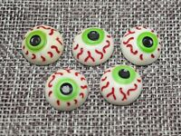 20 Flatback Resin Halloween Doll Bloodshot Eyeballs Cabochons 15mm Scrapbooking