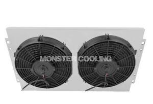 """Ford Ranchero Big Block Custom Aluminum Fan Shroud & 12"""" Fans-16""""H x 24 1/4""""W"""