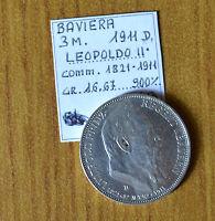 GERMANIA BAVIERA LEOPOLDO II 1911 D 3 MARCHI RARA ARGENTO 900 16,67 gr SUBALPINA