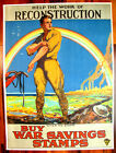 Original WWI War Poster, Help The Work Of Reconstruction, Canada, Rainbow 1919