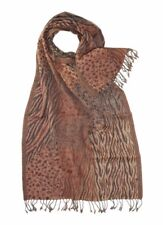 Pure Wool Royal Valley Large Animal Print Brown/Beige/Orange Jacquard Scarf