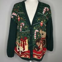 Vintage Maggie Lawrence Bear Ugly Christmas Cardigan Sweater Women's Size Large