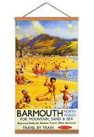 Riley Barmouth Wales British Railways Travel Advert Canvas Wall Art Print Hanger