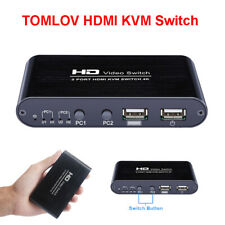 TOMLOV HDMI KVM Switch Box HUD 4K USB 2 Port Monitor Selector for Mouse Keyboard