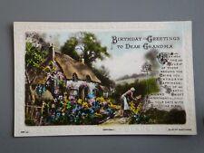R&L Postcard: Greetings, Birthday,Grandma, Country Cottage Garden