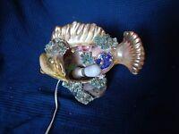 Molde Luces en Forma De Pescado Lámpara Firmada Vallauris Vintage Antiguo