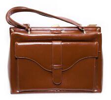 Vintage Large Brown Vinyl Plastic Hand Bag Glossy Purse