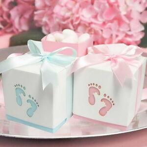 20-100x Baby Footprint Laser Cut Favour Boxes 6cm Baby Shower Bomboniere
