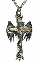 Gothic Serpent Wrapped Cross Pewter Necklace NK-451