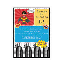 Super Hero Boy PERSONALIZED Birthday Party Invitations - Set of 16