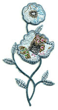 Flowers Multi Colors W/Blues/Bronze Iron On Applique Patch - Pretty Design