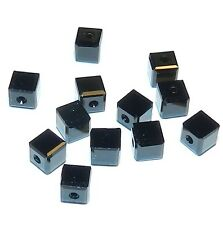 SCC144f JET Black Faceted Square Cube 4mm Swarovski Crystal Beads 12/pkg