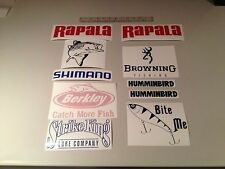 Fishing Stickers bundle of 10 Brands Vinyl Decals Lures Fish Finder Striped Bass