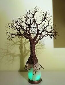 Wire tree sculpture led salt lamp home decor table lamp tree