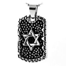 Graphic Design Jewish Star of David Silver Stainless Steel Pendant Necklace