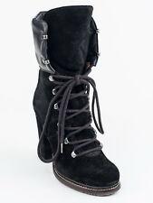 New  Moncler Black Suede Fashion Booties Size 35  US 5