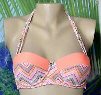 XHILARATION Orange Multicolor Patterned Halter Bikini Swim UW Top Small Padded