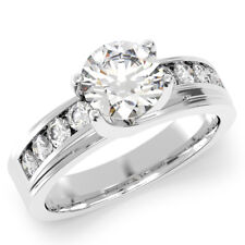 925 Sterling Silver 1.3 Ct Round Channel Set Engagement Ring